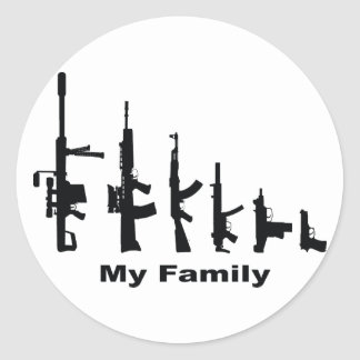 My Family (I Love Guns) Classic Round Sticker
