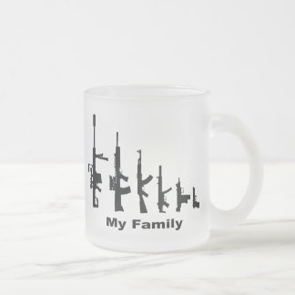My Family (I Love Guns) Frosted Glass Coffee Mug