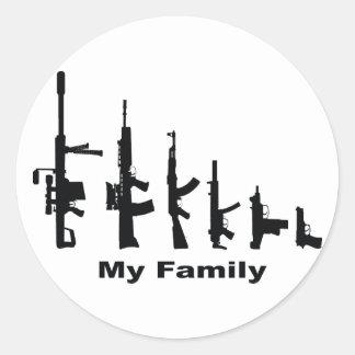 My Family (I Love Guns) Round Sticker