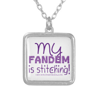 My Fandom Is Stitching! Square Pendant Necklace