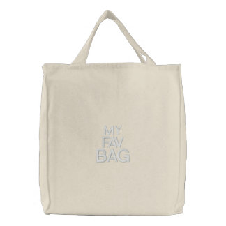 My Fav Bag, Custom Embroidered Black Quote Color Embroidered Tote Bag