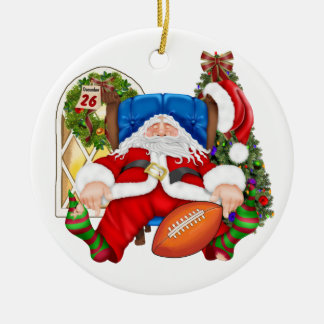 MY FAV! Tracy's Football Santa - SRF Double-Sided Ceramic Round Christmas Ornament