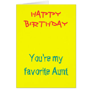 My favorite aunt birthday cards