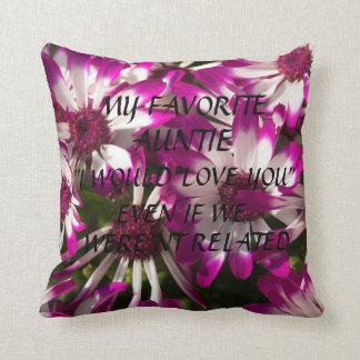"""MY FAVORITE AUNTIE"" THROW PILLOW WITH FLOWERS"