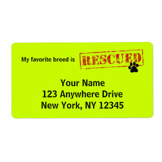 My Favorite Breed Is Rescued Custom Shipping Label