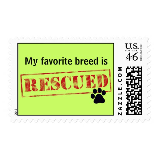 My Favorite Breed Is Rescued Stamp
