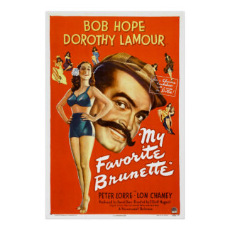 """My Favorite Brunette"" - Vintage Movie Poster"