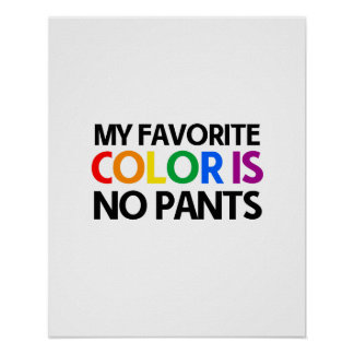 My favorite color is no pants poster