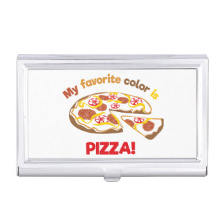 My favorite color is pizza! business card case