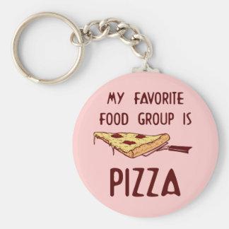 My Favorite Food Group is Pizza Basic Round Button Keychain