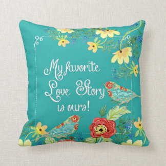 My Favorite Love Story Mod Floral Wreath Modern Throw Pillow