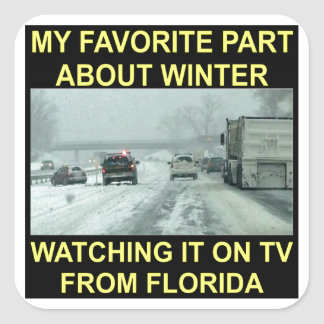 My Favorite Part About Winter Watching It On TV Square Sticker
