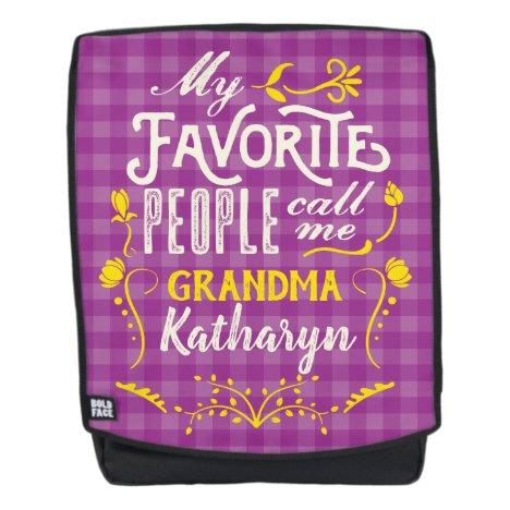 My Favorite People Call Me Grandma Purple Gingham Backpack