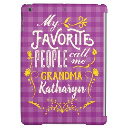 My Favorite People Call Me Grandma Purple Gingham Case For iPad Air