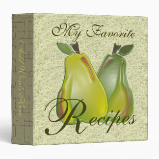 My Favorite Recipes (3D Pears) 3 Ring Binders
