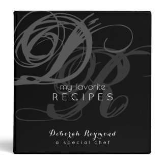 my favorite recipes monogrammed black binder book