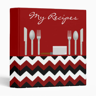 My Favorite Recipes Red Black and White Zig Zag 3 Ring Binders