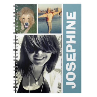 My favorite things blue photo collage journal spiral note books