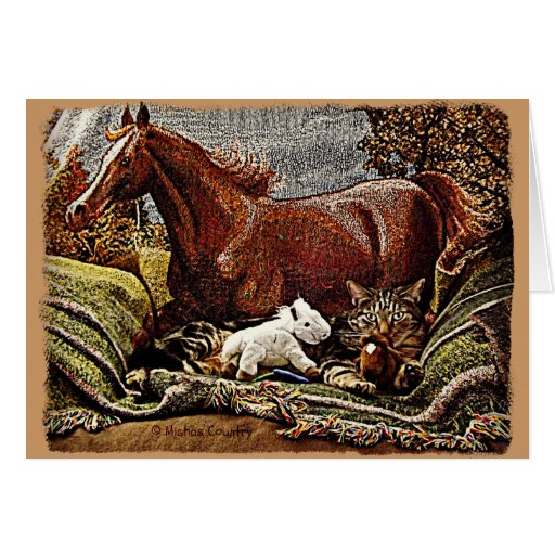 """My Favorite Things"" Cat with Toy Horses Greeting Card"