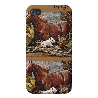 """My Favorite Things"" Cat with Toy Horses iPhone 4 Cover"