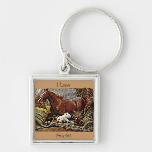 """""""My Favorite Things"""" Cat with Toy Horses Keychain"""