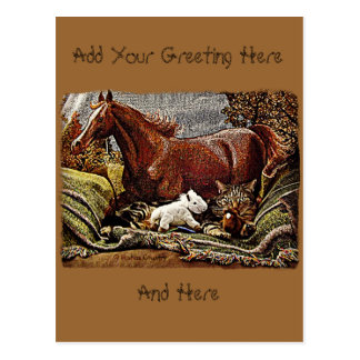 """My Favorite Things"" Cat with Toy Horses Postcard"