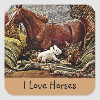 """""""My Favorite Things"""" Cat with Toy Horses Square Sticker"""