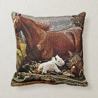 """My Favorite Things"" - Horses & Cats Throw Pillow"