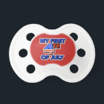 """My First 4th of July Baby&#39;s Patriotic Pacifier<br><div class=""""desc"""">Patriotic 4th of July Baby Pacifier with red,  white,  and blue colors. Stars and stripes for the American Flag.</div>"""