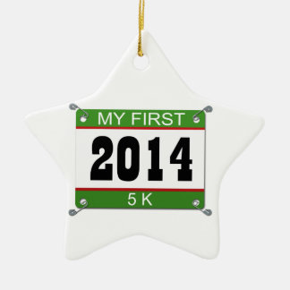 My First 5K - 2014 Double-Sided Star Ceramic Christmas Ornament
