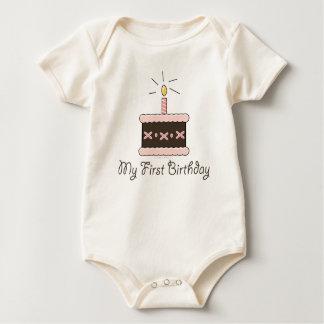 My First Birthday Cake Girl Organic Baby Bodysuit