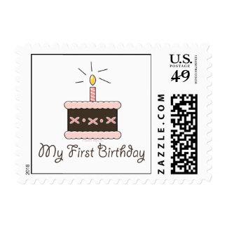 My First Birthday Cake Girl Postage