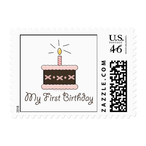 My First Birthday Cake Girl Postage