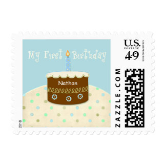 My First Birthday Personalized Name for Baby Boy Postage