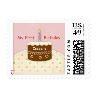 My First Birthday Personalized Name for Girl Postage