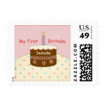 My First Birthday Personalized Name for Girl Stamps