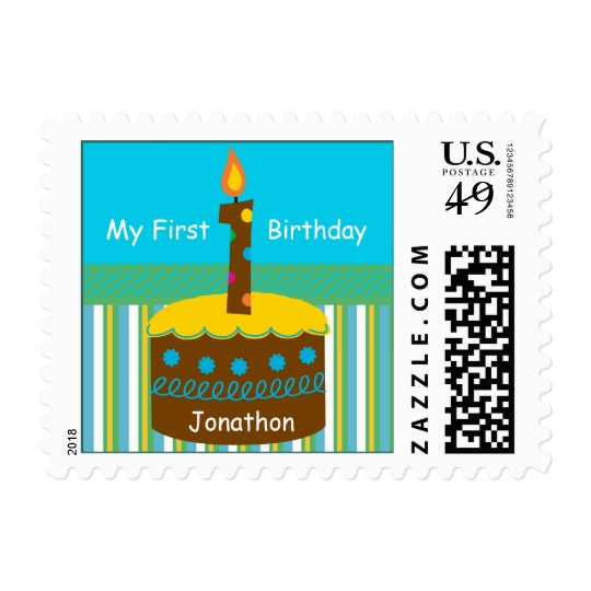 My First Birthday Personalized Name Postage