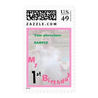 My First Birthday Pink for Girl Stamp