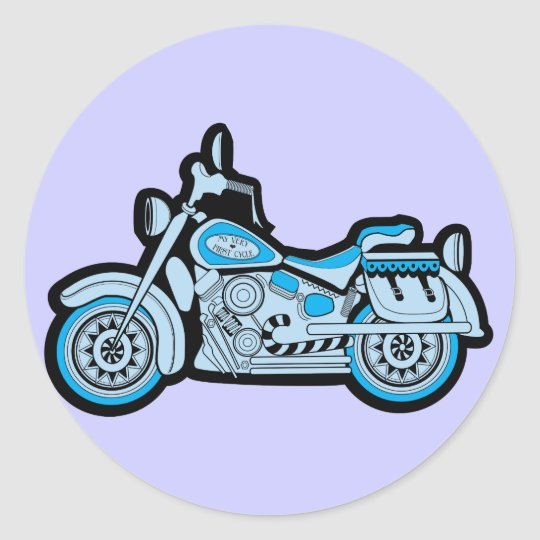 My First Blue Motorcycle Classic Round Sticker