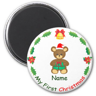My First Christmas 2 Inch Round Magnet