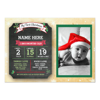 My First Christmas Baby Announcement Stats Card