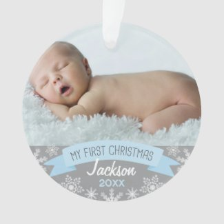 My First Christmas | Baby Boy Blue Photo Ornament