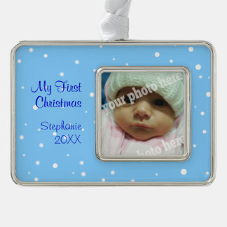 My First Christmas Baby Photo Ornament Blue Snow Silver Plated Framed Ornament