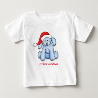 """My First Christmas"" Baby shirt with blue puppy"