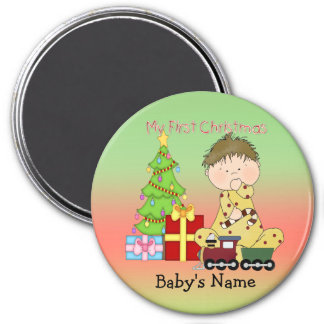 My First Christmas Boy Round Magnet