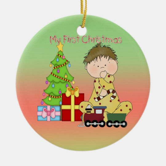 My First Christmas Boy Round Ornament