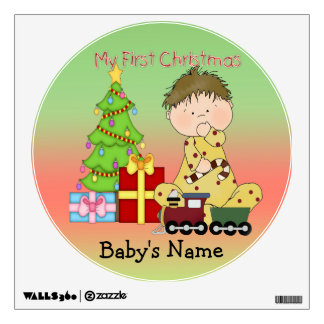 My First Christmas Boy Round Wall Decal