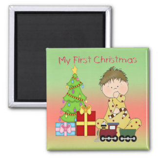 My First Christmas Boy Square Magnet