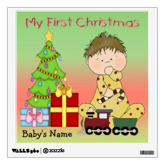 My First Christmas Boy Square Wall Decal