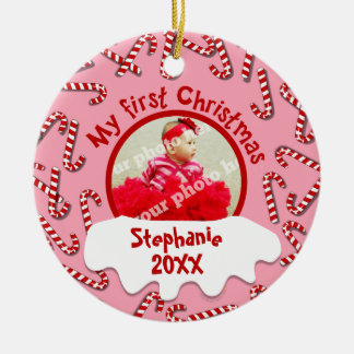 My First Christmas Candy Canes Pink Custom Photo Double-Sided Ceramic Round Christmas Ornament